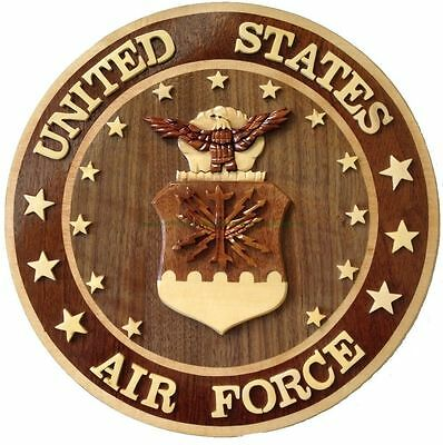 U.S. AIR FORCE EMBLEM - AIR FORCE PLAQUE - Handcrafted Wood Art Military Plaque