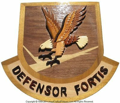 AIR FORCE DEFENSOR FORTIS EMBLEM  -  Handcrafted Military Wood Art Plaque