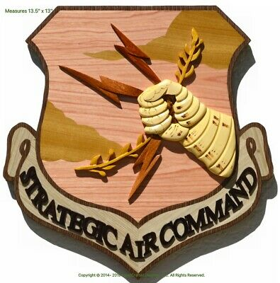 STRATEGIC AIR COMMAND EMBLEM - AIR FORCE - Handcrafted Wood Art Military Plaque