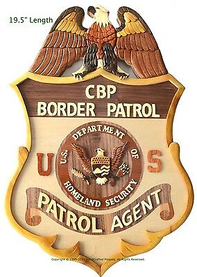 BADGE OF THE UNITED STATES BORDER PATROL - Handcrafted Wood Art Military Plaque