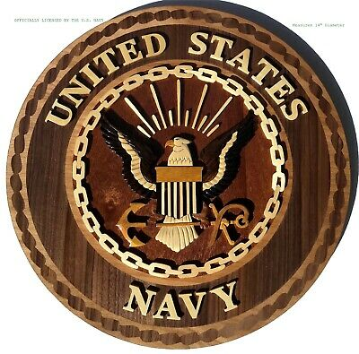 U.S. NAVY EMBLEM   NAVAL PLAQUE   Handcrafted Wood Art Military Plaque