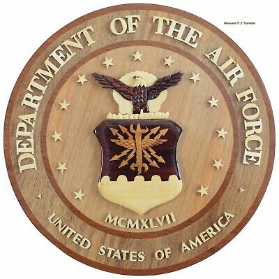 DEPARTMENT OF THE AIR FORCE  - USAF SEAL -  Handcrafted Military Wood Art Plaque
