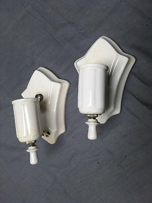 Vtg Pair Ceramic White Porcelain Sconce Light Fixtures Old Bathroom Chic 285-17E