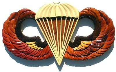 ARMY BASIC PARACHUTIST BADGE  - JUMP WINGS  Handcrafted Military Wood Art Plaque