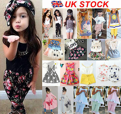 UK Stock Baby Kids Girls Headband T-shirt Pants Dress Summer Outfits Clothes Set
