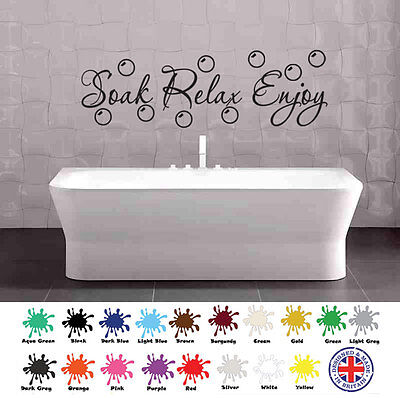 Soak Relax Enjoy Autocollant - art mural, citation, salle de bain, bulles
