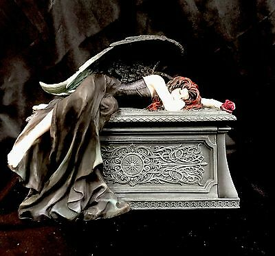 "*NEW* Anne Stokes"" Gothic Weeping Angel"" Trinket Box Figurine Statue 20cm"
