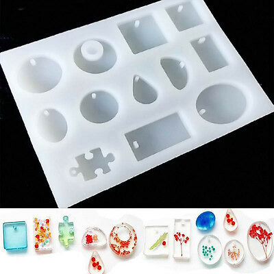 12 Type Silicone Resin Mold Pendant Jewelry Making Craft Tool DIY Necklace Mould