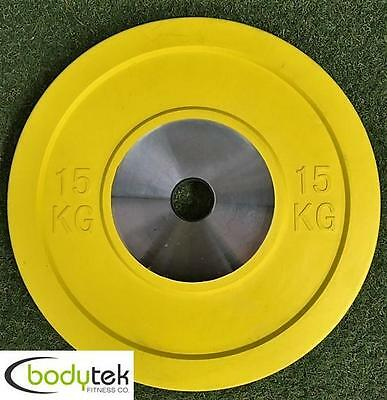 15Kg Coloured Bumper Competition Olympic Weight Plate Strength Training Barbell