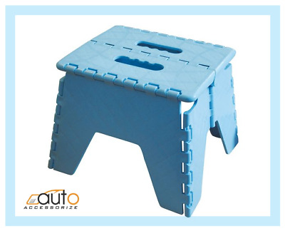 Childs Folding Handy Helper Step Stool No Clip Easy Storage White/Blue