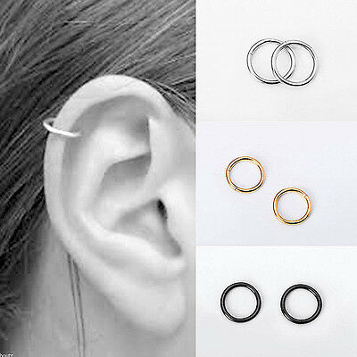 Women Lady Stainless Steel Piercing Hoop Earring Helix Nose Ear Cartilage Ring