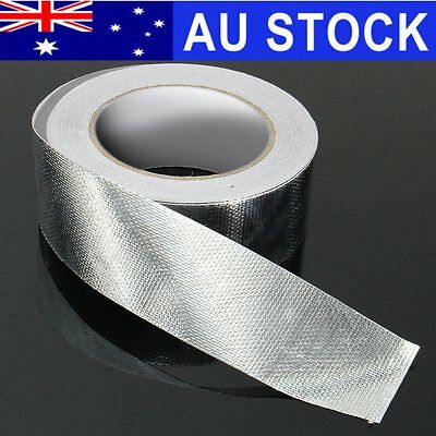 AU 48mmx25m Aluminum Reinforced Heat Shield Tape Adhesive Backed Resistant 450℃