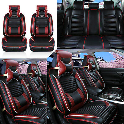 Deluxe Black PU Leather Full Surround Car Seat Cover Cushion Set For 5 Seat Car