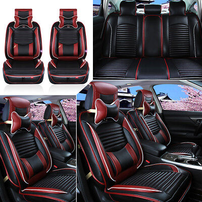 Luxury Black PU Leather Full Surround Car Seat Cover Cushion Set For 5 Seat Car