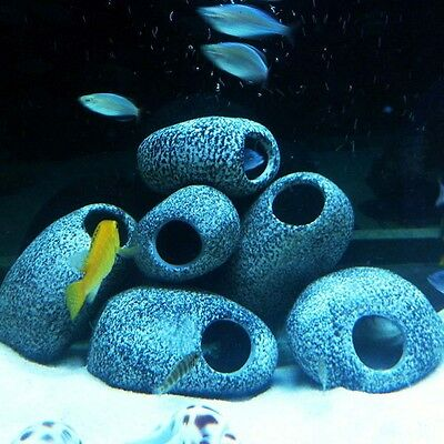 Cute Cichlid Stone Ceramic Aquarium Rock Cave Ornament Fish Tank Pond Decor UK