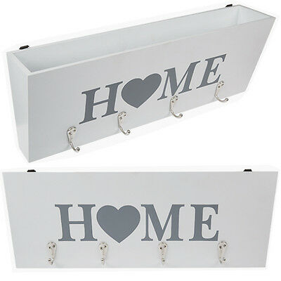 Wooden Key Wall Hanging Storage Box 4 Hook Home Organiser 40Cm Letters Shabby