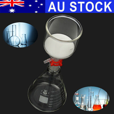 AU 1000ml Erlenmeyer Conical Flask 350ml Buchner Funnel Glass Suction Filter Set