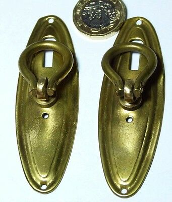 Pair Pressed Brass Recycled Vintage Chest/cupboard Pull Handle Georgian Style