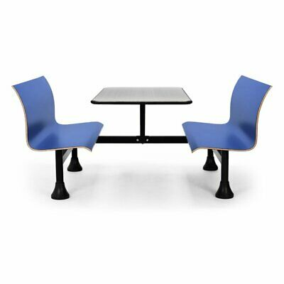 OFM 1007W Retro Stainless Steel Lunchroom Table with Bench in Blue