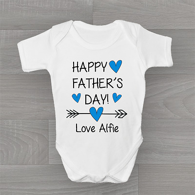 Personalised Boys Happy Fathers Father's Day Arrow Baby Grow Body Suit Vest