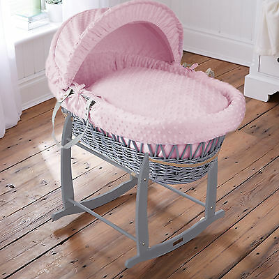 Clair De Lune Pink Dimple Padded Grey Wicker Baby Moses Basket & Rocking Stand