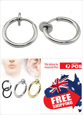 1pc Surgical steel Fake NO Piercing Spring Load Clip On Hoop Ring Septum NoseEar