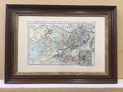 Antique 1894 Boston Massachusetts Map city plan hand colored orig frame ma old