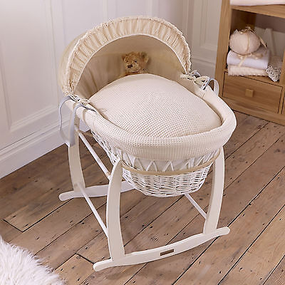 Clair De Lune Cream Waffle Padded White Wicker Baby Moses Basket & Rocking Stand