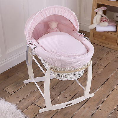 Clair De Lune Pink Waffle Padded White Wicker Baby Moses Basket & Rocking Stand