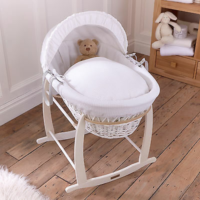 Clair De Lune White Waffle Padded White Wicker Baby Moses Basket & Rocking Stand