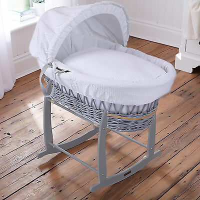 Clair De Lune White Waffle Padded Grey Wicker Baby Moses Basket & Rocking Stand