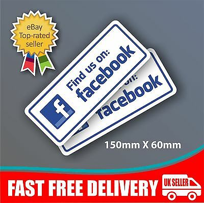 2x Find us on Social Network Stickers Shop Business Taxi Media Advertising Decal