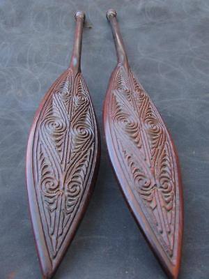 Two New Zealand Maori Dance Paddle Club Vintage ornaments circa 1960s