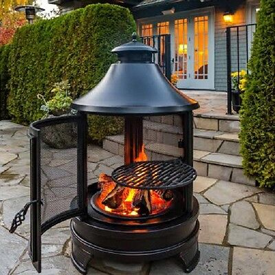 Outdoor Fire Pit Grill BBQ Garden Cooking Patio Heater Chimney Log Burner Steel