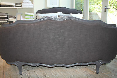 VINTAGE ANTIQUE FRENCH CORBEILLE DOUBLE BED REUPHOLSTERED in DARK GREY LINEN