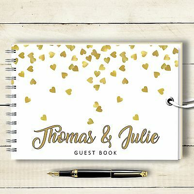 Personalised Wedding Guest Book , Falling Hearts Blank Message Book, Engagement