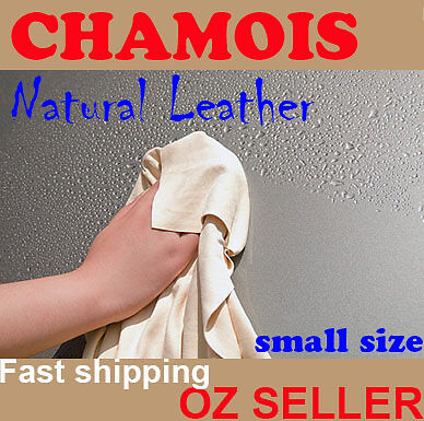 NATURAL Real Leather CHAMOIS Car wash Glass screen furniture clean small 38x50cm