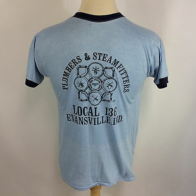 Vintage Paper Thin Plumbers Steamfitters Union 70s 80s RInger T Shirt Evansville