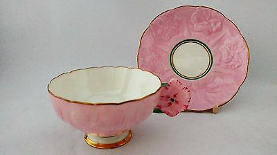 RARE Royal Paragon G342 / 2 PINK Flower Handle Embossed Flowers Cup & Saucer Set