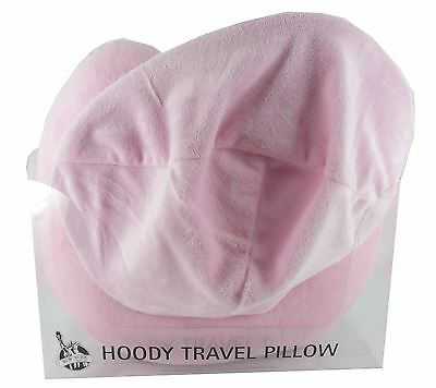 Pink Hoodie Travel Pillow Micro Bead Neck Foam Adult Car Children One Size
