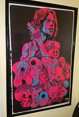 Rolling Stones original vintage black light poster psychedelic Beeghley pin-up