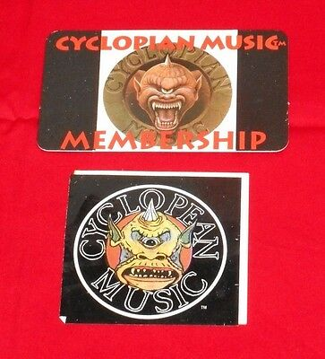 vintage CYCLOPEAN MUSIC STICKER & MEMBERSHIP CARD Misfits Christ the Conqueror