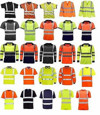 Hi Viz Vis Polo T-Shirt Top High Visibility Safety Security Work wear Shirts Tee