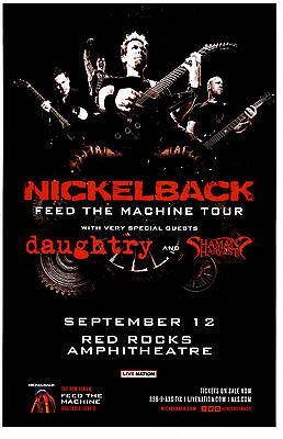 NICKELBACK Feed The Machine Tour 2017 Red Rocks 11x17 Concert Flyer / Gig Poster
