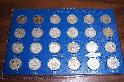 KING GEORGE V SILVER THREEPENCE 24 PIECE SET 1911-1936 by Bradshaw & Darlington