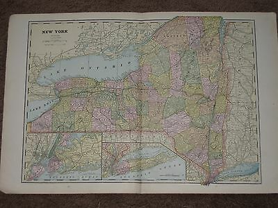 1893 NEW YORK STATE ANTIQUE MAP Geo Cram 21 x 14 Orig Antique!