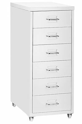 Halter 6 Drawer Pedestal File Cabinet with Wheels,Cold Rolled Steel - White