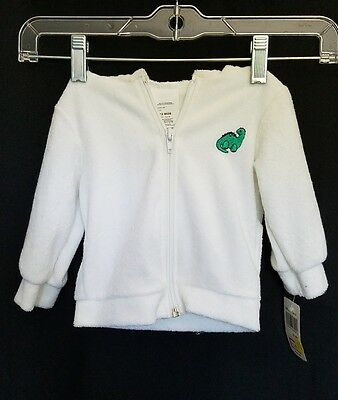Nwt Children's White Dinosaur Zip Front Hooded Terry Cloth Jacket Sz 12 Mo. #229
