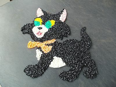 "Vintage Halloween Black Cat Melted Plastic Popcorn! 18"" TALL & 14"" WIDE!"