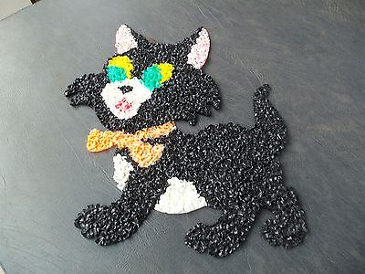 "Vintage Melted Plastic Popcorn Halloween Black Cat! 18"" TALL & 14"" WIDE!"